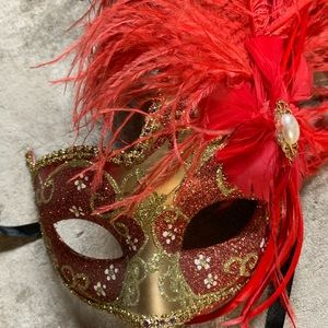 Accessories - Gorgeous Authentic Red Venetian Mask with Feathers
